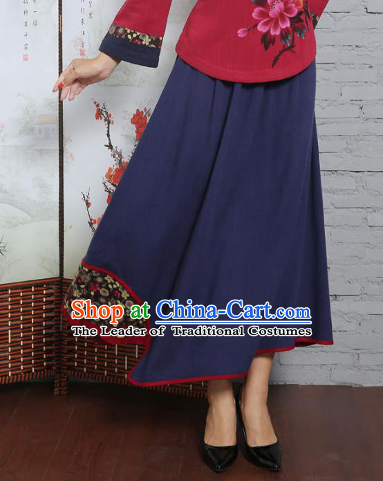 Asian China Hand Painting Navy Linen Bust Skirt, Traditional Chinese Tang Suit Hanfu Skirts for Women