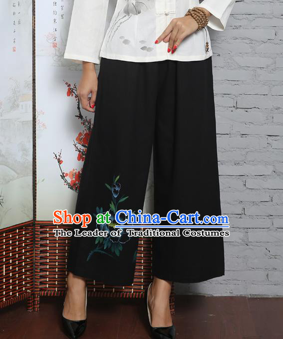 Traditional Chinese National Costume Loose Pants, Elegant Hanfu Black Linen Wide leg Pants, China Tang Suit Ultra-wide-leg Trousers for Women