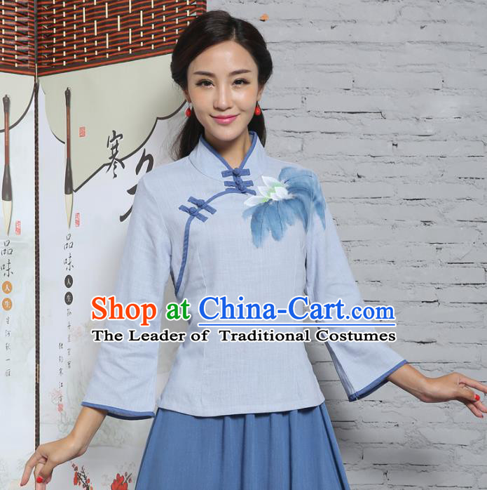 Asian China Top Grade Blue Linen Cheongsam Blouse, Traditional Chinese Tang Suit Hanfu Plated Button Qipao Shirts for Women