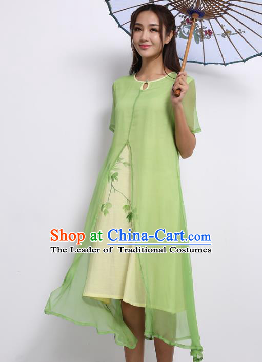 Asian China Top Grade Green Silk Hand Painting Cheongsam, Traditional Chinese Tang Suit Hanfu Plated Button Qipao Dress for Women