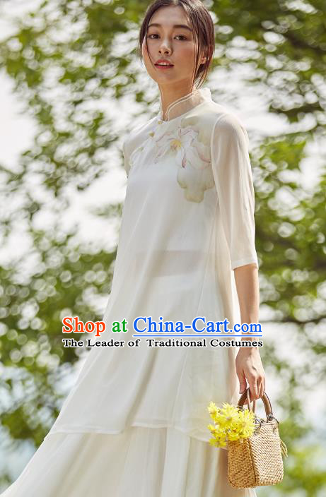 Asian China Top Grade White Chiffon Printing Cheongsam Blouse, Traditional Chinese Tang Suit Hanfu Plated Button Qipao Shirts for Women
