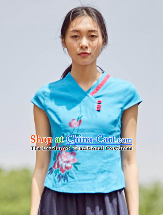 Asian China Top Grade Blue Linen Printing Peony Cheongsam Blouse, Traditional Chinese Tang Suit Hanfu Plated Button Qipao Shirts for Women