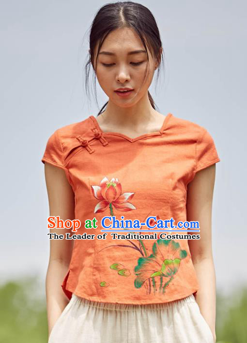 Asian China Top Grade Orange Linen Printing Lotus Cheongsam Blouse, Traditional Chinese Tang Suit Hanfu Plated Button Qipao Shirts for Women