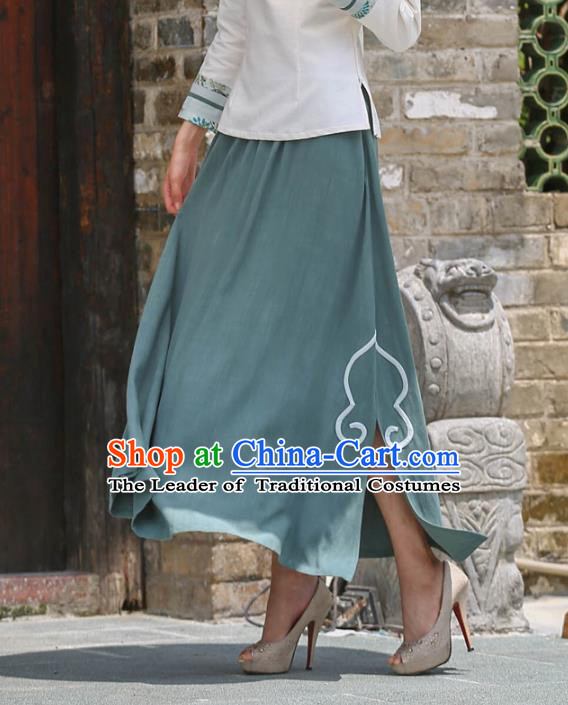 Asian China Hand Painting Top Grade Green Linen Bust Skirt, Traditional Chinese Tang Suit Hanfu Skirts for Women
