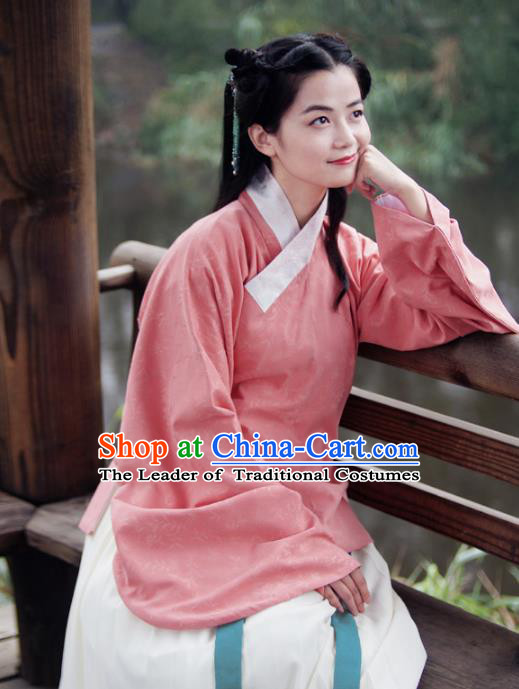 Asian China Ming Dynasty Young Lady Costume Pink Blouse, Traditional Chinese Ancient Princess Embroidered Hanfu Clothing for Women