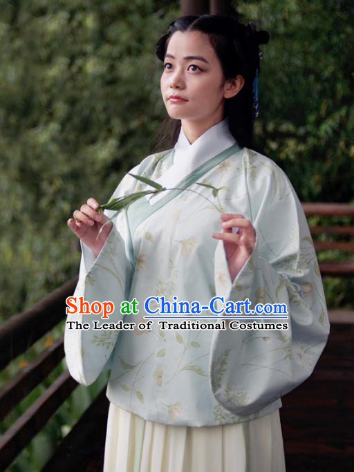 Asian China Ming Dynasty Young Lady Costume Light Blue Blouse, Traditional Chinese Ancient Princess Embroidered Hanfu Clothing for Women