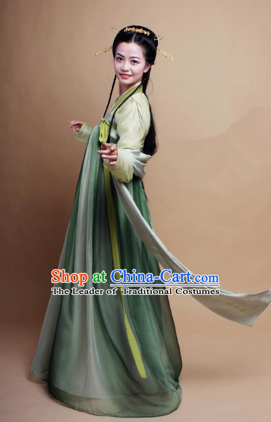 Asian China Tang Dynasty Princess Costume Complete Set, Traditional Chinese Ancient Princess Embroidered Bamboo Hanfu Clothing for Women