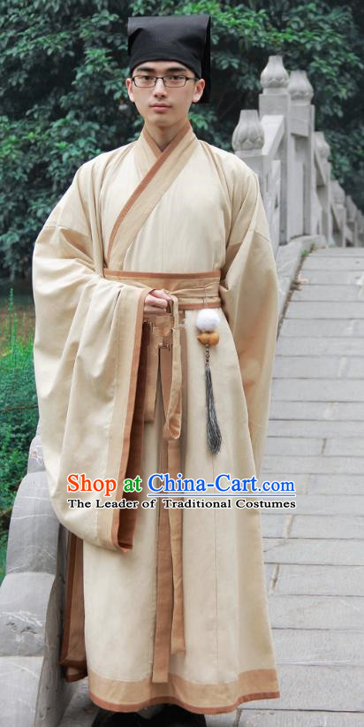 Asian China Han Dynasty Scholar Costume Yellow Long Robe, Traditional Chinese Ancient Chancellor Hanfu Clothing for Men