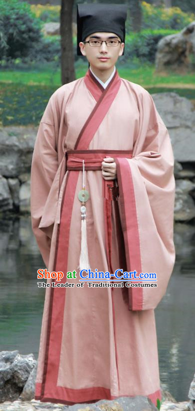 Asian China Han Dynasty Scholar Costume Pink Long Robe, Traditional Chinese Ancient Chancellor Hanfu Clothing for Men