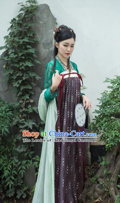 Asian China Tang Dynasty Princess Costume Complete Set, Traditional Chinese Ancient Palace Lady Hanfu Purple Silp Skirt Clothing for Women