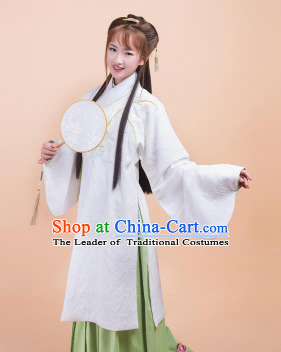 Asian China Ming Dynasty Princess Costume Palace Lady Embroidery Orchids White Blouse and Skirt Complete Set