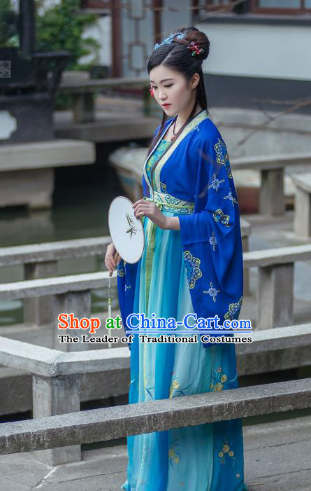 Asian China Tang Dynasty Palace Lady Costume, Traditional Ancient Chinese Imperial Consort Embroidery Clothing for Women