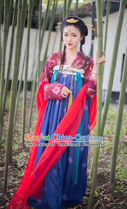 Asian China Tang Dynasty Princess Costume, Traditional Ancient Chinese Palace Lady Embroidery Clothing for Women