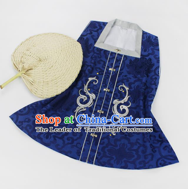 Asian China Ming Dynasty Palace Lady Costume Blue Embroidery Vests, Traditional Chinese Ancient Princess Embroidered Hanfu Sleeveless Over-dress for Women