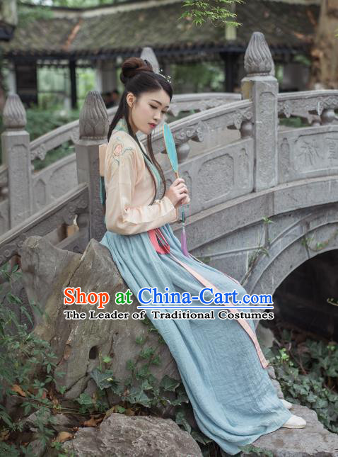 Asian China Tang Dynasty Palace Lady Costume Complete Set, Traditional Chinese Ancient Princess Embroidered Hanfu Slip Dress for Women