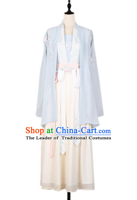 Asian China Song Dynasty Princess Embroidered Costume Complete Set, Traditional Ancient Chinese Palace Lady Embroidery Clothing for Women