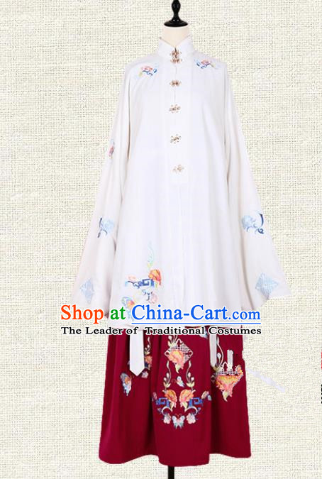 Asian China Ming Dynasty Princess Costume Embroidered Blouse and Red Skirt, Traditional Ancient Chinese Palace Lady Embroidery Clothing for Women