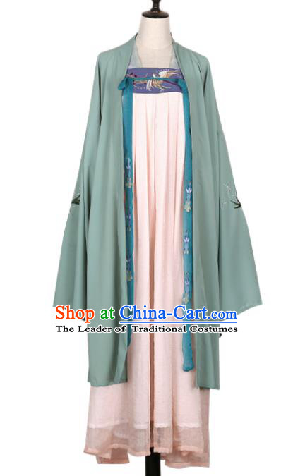 Asian China Tang Dynasty Palace Lady Embroidered Wide Sleeve Cardigan Costume Complete Set, Traditional Ancient Chinese Princess Embroidery Hanfu Clothing for Women
