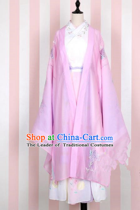 Asian China Han Dynasty Young Lady Embroidered Costume Pink Wide Sleeve Cardigan, Traditional Ancient Chinese Princess Elegant Hanfu Embroidery Clothing for Women