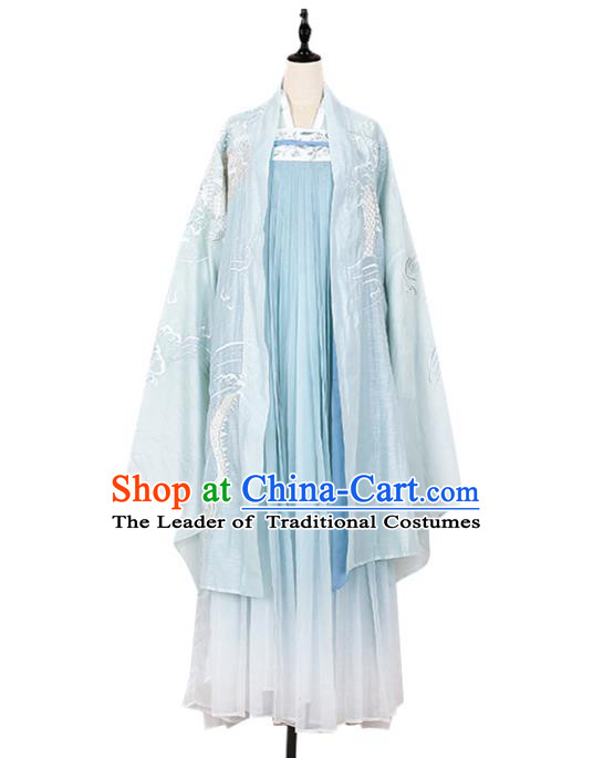 Asian China Tang Dynasty Imperial Concubine Embroidered Costume Complete Set, Traditional Ancient Chinese Princess Elegant Hanfu Clothing for Women