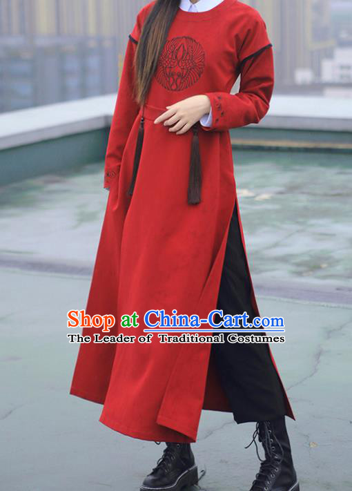 Asian China Tang Dynasty Swordswoman Embroidered Costume Red Robe, Traditional Ancient Chinese Elegant Hanfu Embroidery Clothing for Women