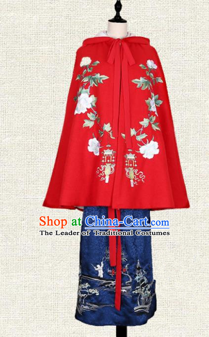 Asian China Ming Dynasty Young Lady Costume Red Embroidered Cape, Traditional Ancient Chinese Elegant Hanfu Mantle Clothing for Women