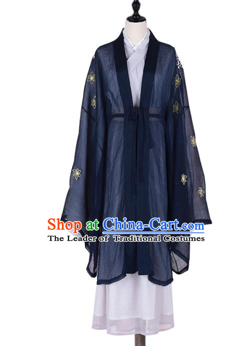 Asian China Jin Dynasty Swordswoman Embroidered Costume Complete Set, Traditional Ancient Chinese Elegant Hanfu Navy Cardigan Clothing for Women
