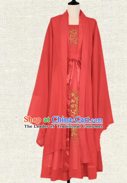 Asian China Tang Dynasty Princess Embroidered Costume Complete Set, Traditional Ancient Chinese Elegant Hanfu Wedding Red Clothing for Women