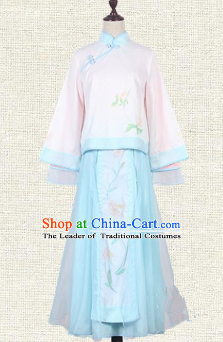 Asian China Qing Dynasty Princess Costume Embroidered Blouse and Skirts, Traditional Ancient Chinese Manchu Lady Elegant Hanfu Clothing for Women