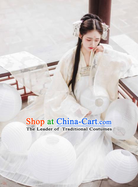 Asian China Tang Dynasty Palace Princess Costume Complete Set, Traditional Ancient Chinese Elegant Hanfu Embroidered Clothing for Women