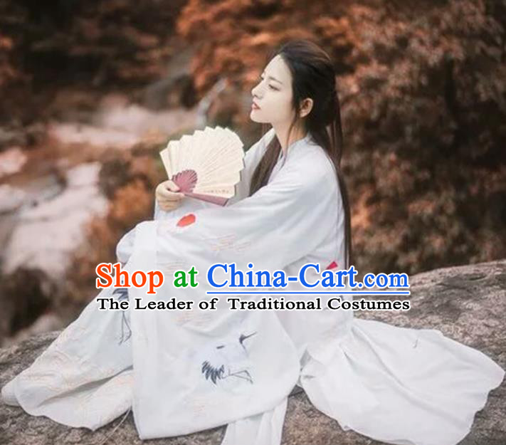 Asian China Jin Dynasty Palace Lady Costume Embroidered Crane Clothing Complete Set, Traditional Ancient Chinese Elegant Hanfu for Women