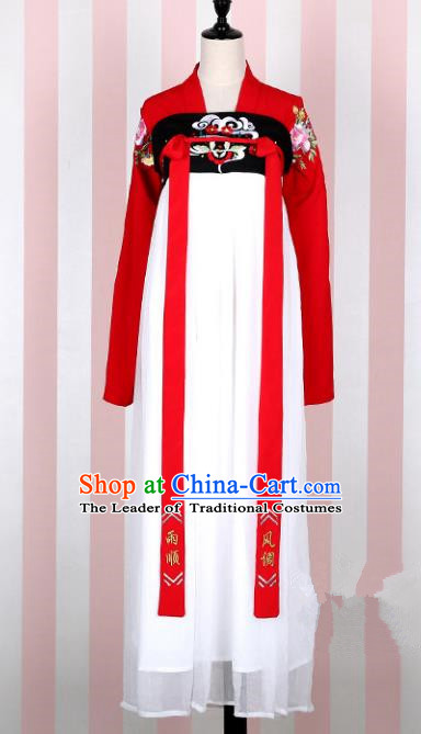 Asian China Tang Dynasty Young Lady Embroidered Costume, Traditional Ancient Chinese Imperial Concubine Elegant Hanfu White Slip Skirt Clothing for Women