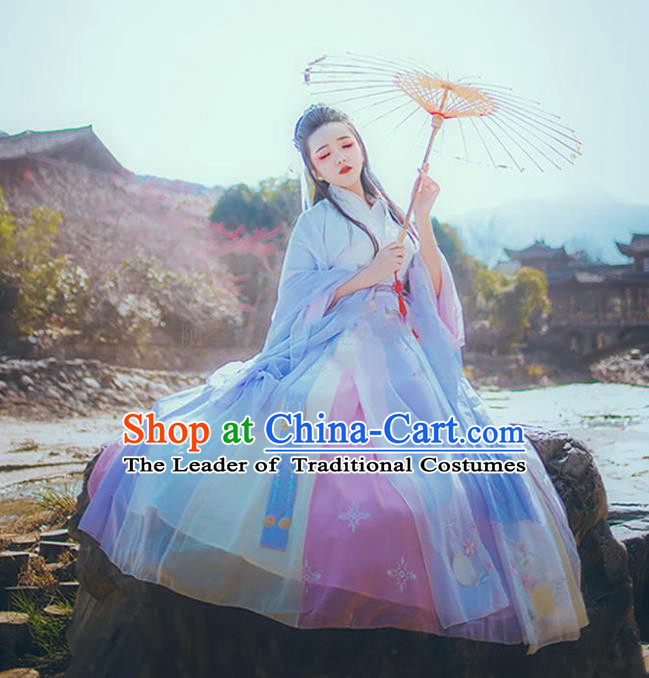 Asian China Han Dynasty Young Lady Embroidered Costume, Traditional Ancient Chinese Princess Elegant Hanfu Embroidery Clothing for Women