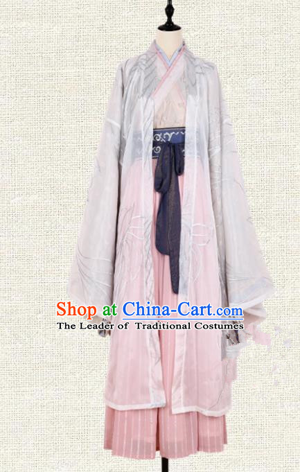 Asian China Jin Dynasty Princess Clothing Embroidered Costume Complete Set, Traditional Ancient Chinese Palace Lady Hanfu for Women