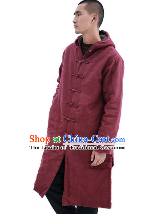 Asian China National Costume Red Cotton-padded Jacket, Traditional Chinese Tang Suit Plated Buttons Dust Coat Clothing for Men