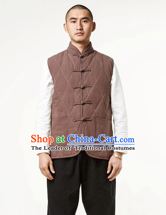 Asian China National Costume Brown Cotton-padded Vest, Traditional Chinese Tang Suit Plated Buttons Waistcoat Clothing for Men