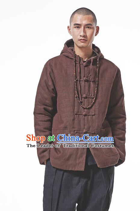 Asian China National Costume Brown Cotton-padded Jacket, Traditional Chinese Tang Suit Plated Buttons Coat Clothing for Men