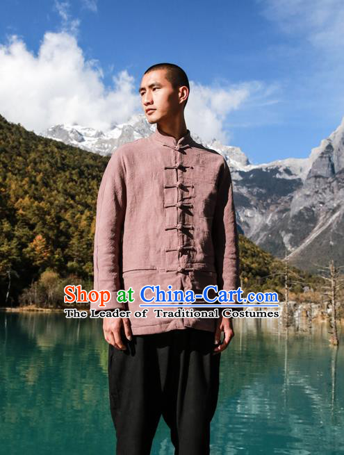 Asian China National Costume Brown Linen Shirts, Traditional Chinese Tang Suit Plated Buttons Upper Outer Garment Clothing for Men