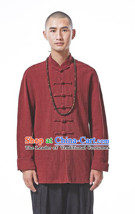 Asian China National Costume Red Linen Shirts, Traditional Chinese Tang Suit Plated Buttons Upper Outer Garment Clothing for Men
