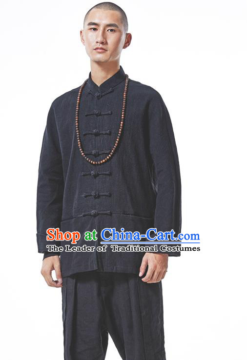 Asian China National Costume Black Linen Shirts, Traditional Chinese Tang Suit Plated Buttons Upper Outer Garment Clothing for Men