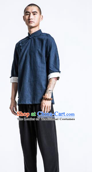 Asian China National Costume Slant Opening Navy Linen Shirts, Traditional Chinese Tang Suit Plated Buttons Upper Outer Garment Clothing for Men