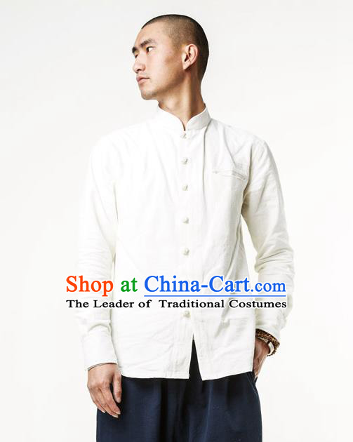 Asian China National Costume Stand Collar White Linen Shirts, Traditional Chinese Tang Suit Plated Buttons Upper Outer Garment Clothing for Men