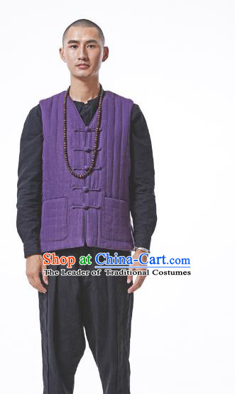 Asian China National Costume Purple Cotton-padded Linen Vest, Traditional Chinese Tang Suit Plated Buttons Waistcoat Clothing for Men