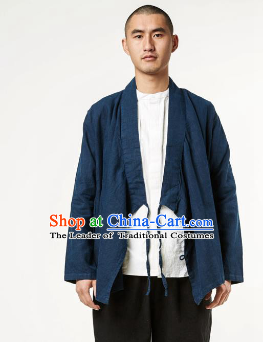 Asian China National Costume Slant Opening Deep Blue Linen Shirts, Traditional Chinese Tang Suit Plated Buttons Upper Outer Garment Clothing for Men