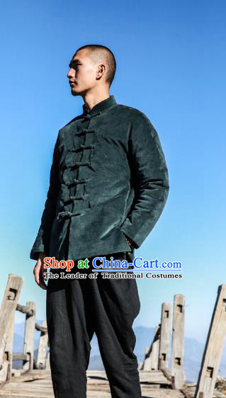 Asian China National Costume Green Corduroy Cotton-padded Jacket, Traditional Chinese Tang Suit Plated Buttons Coat Clothing for Men