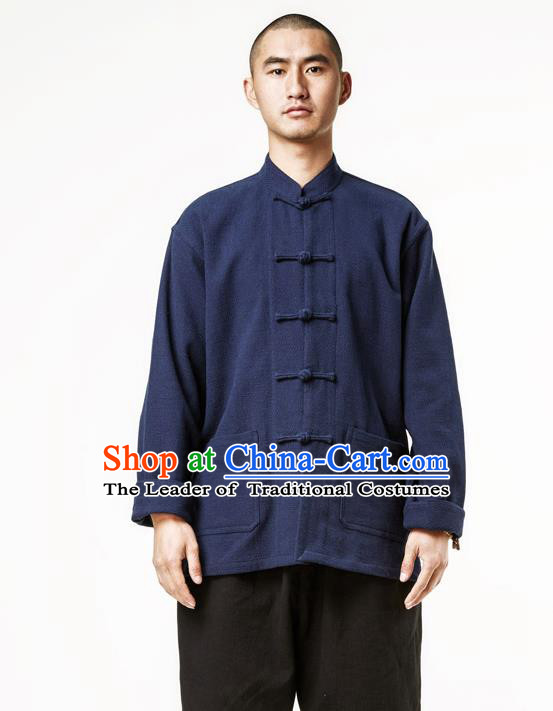 Asian China National Costume Stand Collar Navy Linen Shirts, Traditional Chinese Tang Suit Plated Buttons Upper Outer Garment Clothing for Men