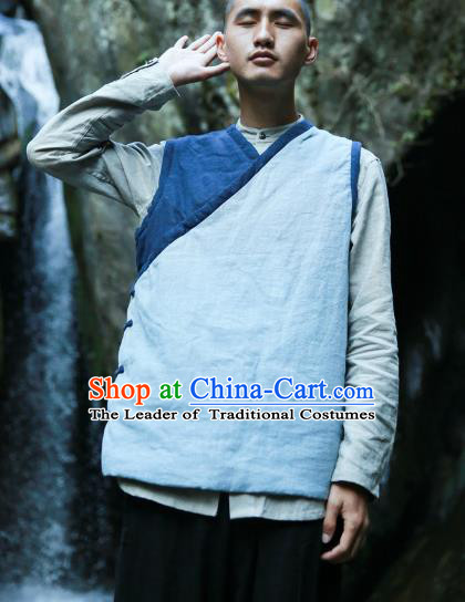 Asian China National Costume Cotton-padded Vest, Traditional Chinese Tang Suit Plated Buttons Waistcoat Clothing for Men