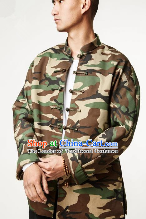 Asian China National Costume Linen Camouflage Jacket, Traditional Chinese Tang Suit Plated Buttons Coat Clothing for Men