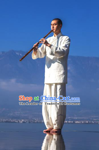 Asian China National Costume Linen Monk Clothing, Traditional Chinese Tang Suit Plated Buttons Zen Clothing for Men
