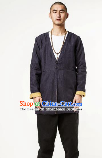 Asian China National Costume Linen Coat, Traditional Chinese Tang Suit Brass Button Coat Clothing for Men